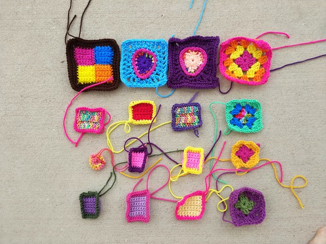Sixteen crochet remnants after a round of rehab