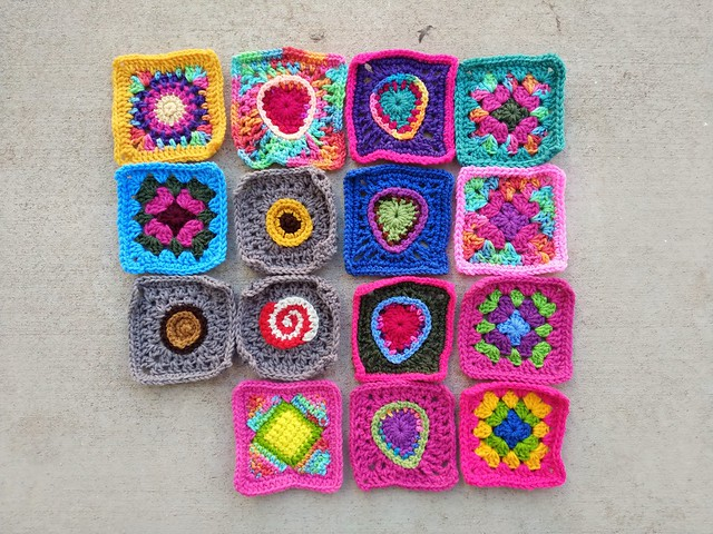 Sixteen minus one crochet remnants rehabbed and ready for adventure