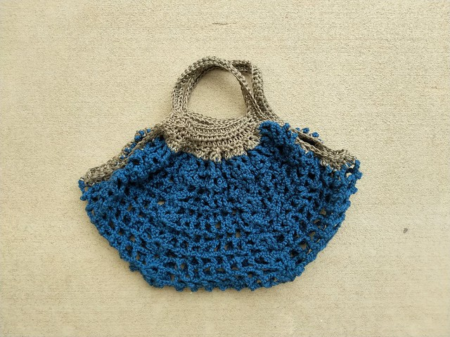 The Frankston market crochet bag with the ends trimmed and ready for blocking
