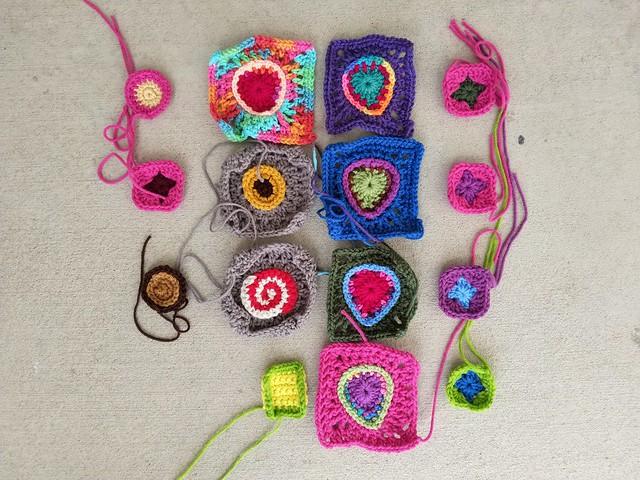 Working on rehabbing sixteen crochet remnants minus one