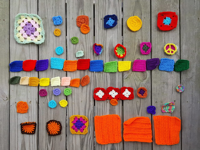 Fifty-six crochet remnants ready for a round of rehab