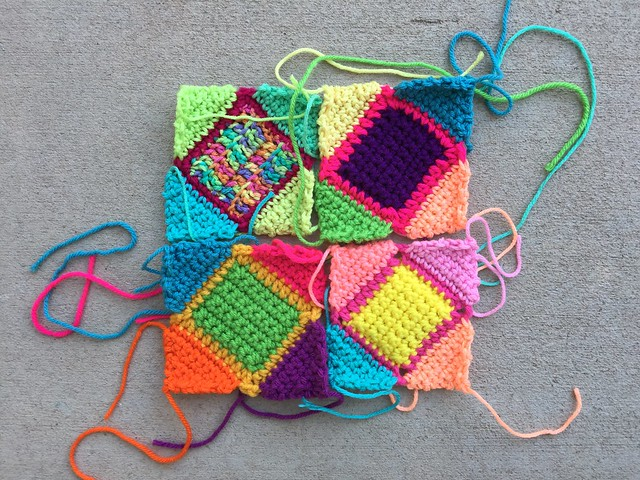 Squaring off crochet squares with triangles