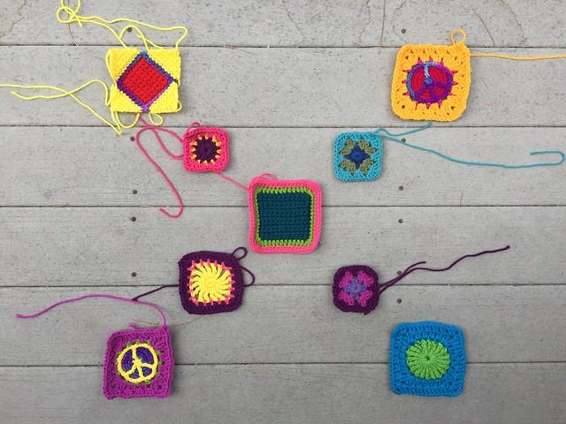 Nine crochet remnants halfway though rehab