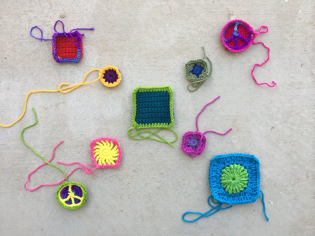 Nine crochet remnants in need of some tidying up