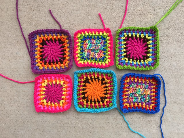 The six crochet remnants with me for coffee shop crochet