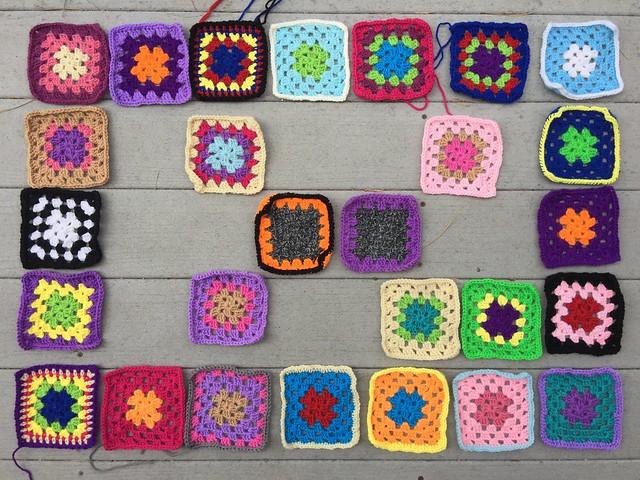 Twenty-seven crochet remnants nearly rehabbed on the last day of June