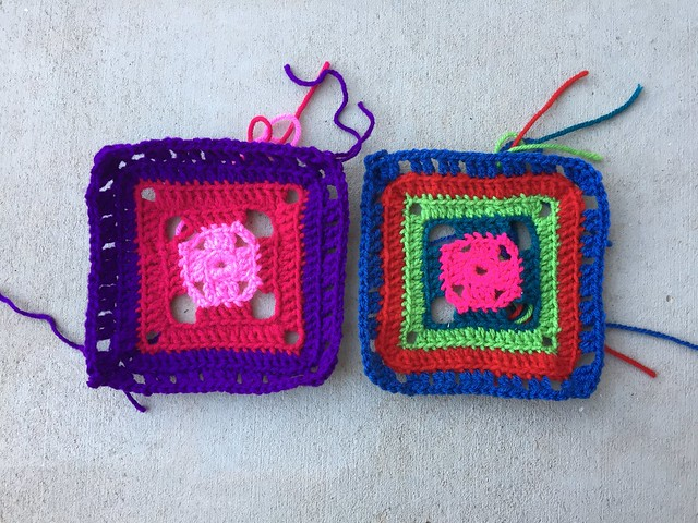 The same square made with two different size hooks for State Fair 2019