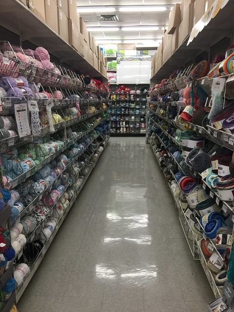 Another aisle of yarn in the Pasadena Michaels