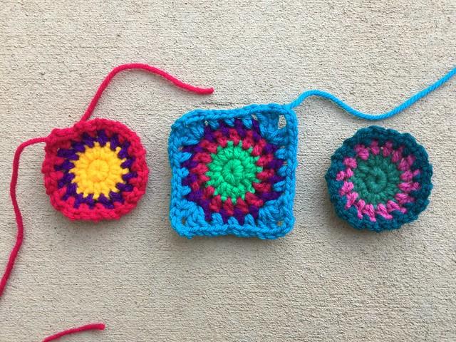 Three future crochet squares for a crochet purse