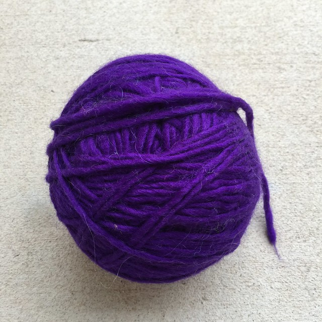 A ball of reclaimed angora and wool yarn