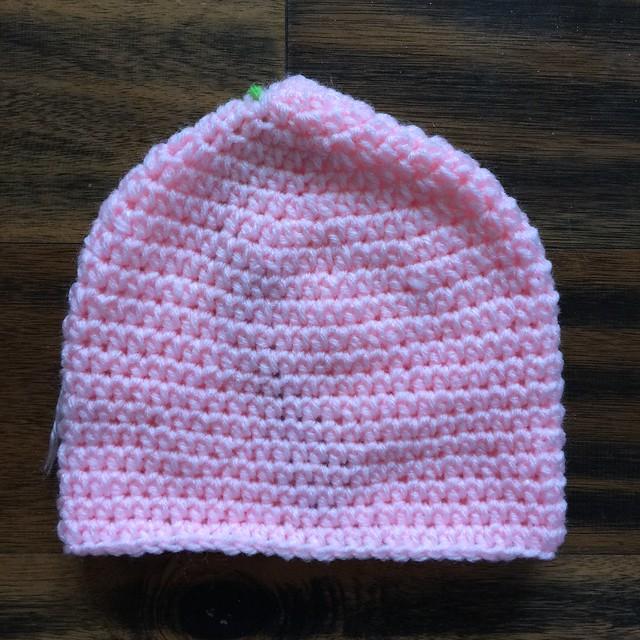 The base of a crochet troll hat