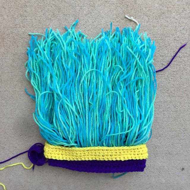A crochet troll hat ready for Super Bowl LIV