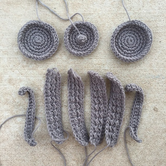 All of the gray pieces with the ends woven in