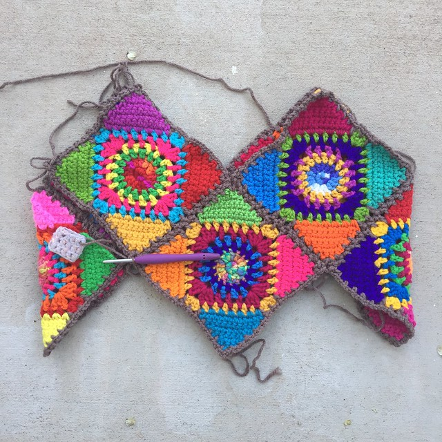 The ten granny square bag with eight of the squares almost all joined