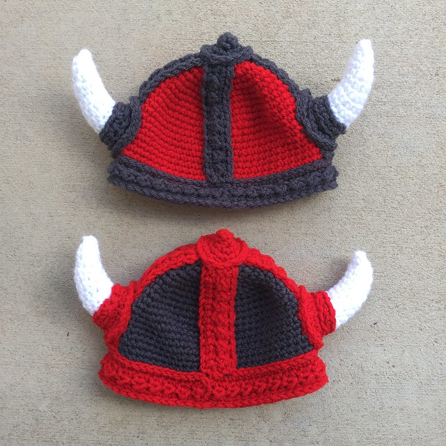 Two viking helmets the finishing of which seemed to serve as a crochet trebuchet