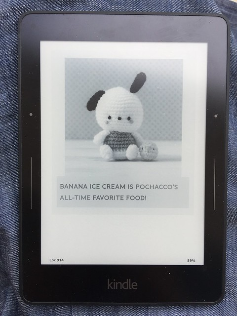 An image of a crochet pochacco (a crochet dog) from Hello Kitty Crochet