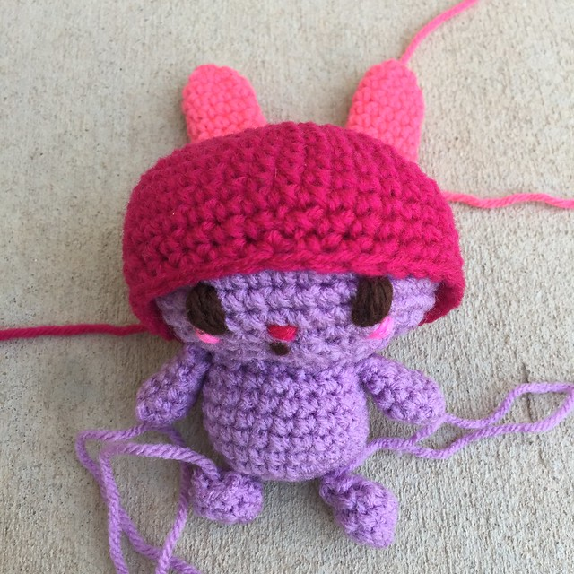 My Melody with all of the crochet pieces I have made so far