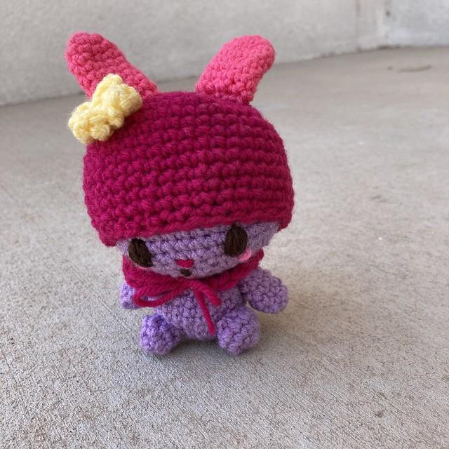 My Melody amigurumi ready for adventure