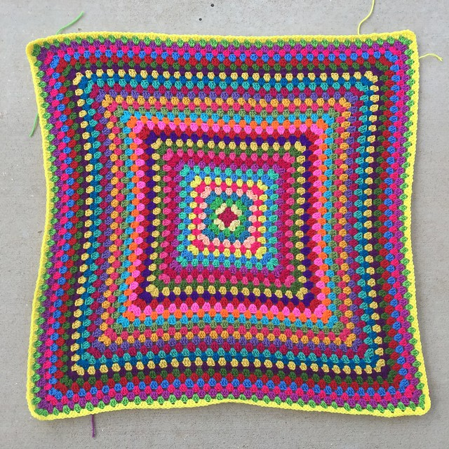 Thirty-five rounds into a thirty-six round granny square blanket with just one round to go