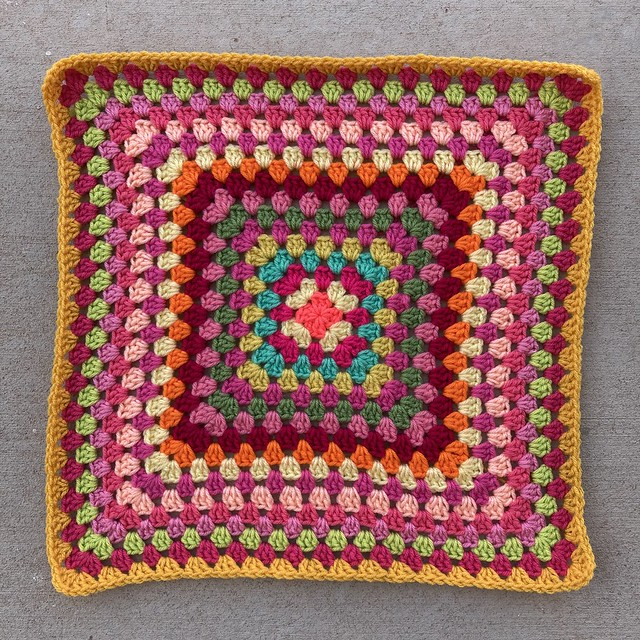Eighteen rounds of a multicolor great granny square