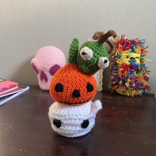 Three crochet heads for Mr. Bone Headz