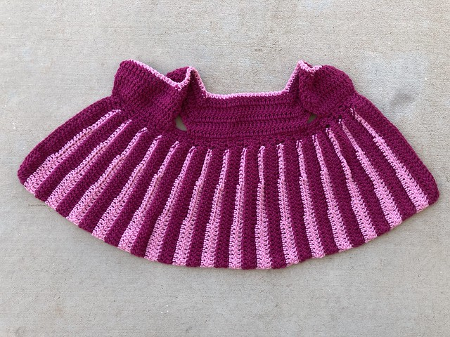 The Eloise crochet sweater with the skirt and bodice crocheted an all of the ends woven in and trimmed