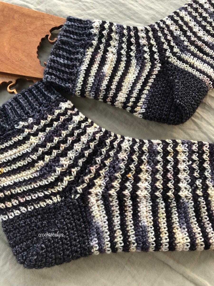 crochet socks in self striping yarn