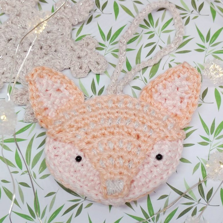 Fox Face Brooch by Crochet Cloudberry