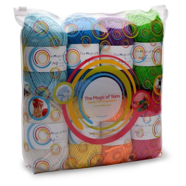 Premium Yarn Pack - 8x30g Acrylic Rainbow Colour Yarn Skeins