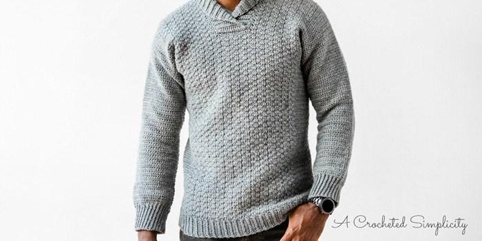 WULF Men's Crochet Pullover