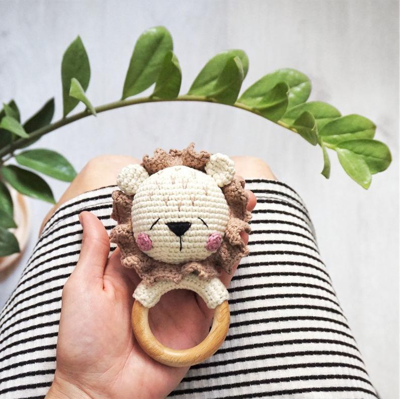Lion Amigurumi Rattle Teether Ring