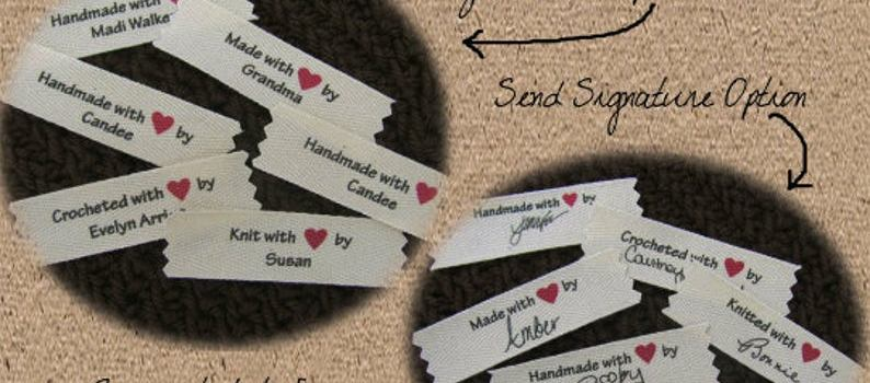Personalized Signature Sew In Labels from Mountain Street Arts – Autograph your Handmade items with your signature