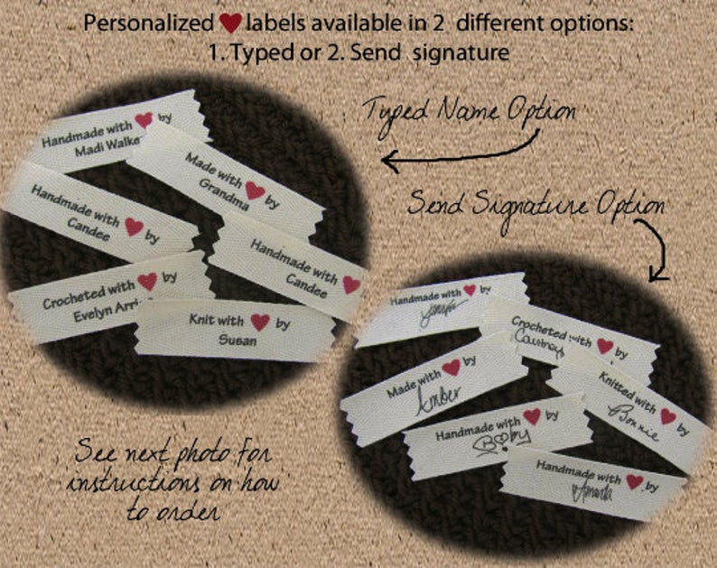 Personalized signature sew in labels