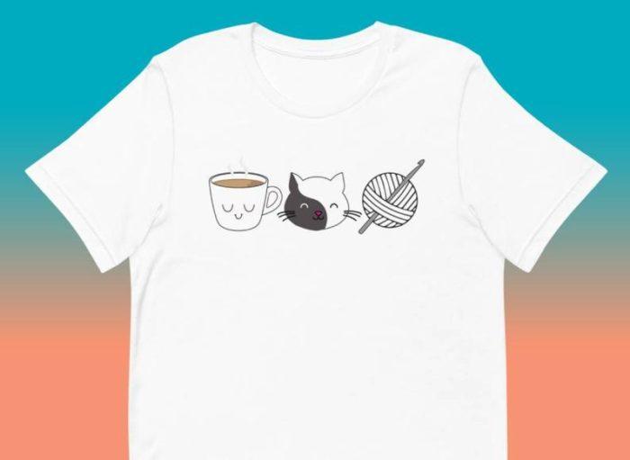 Coffee, Cats, Crochet T-Shirt