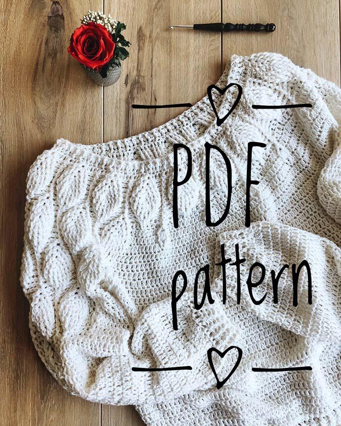 Leaves Crochet Sweater Pattern