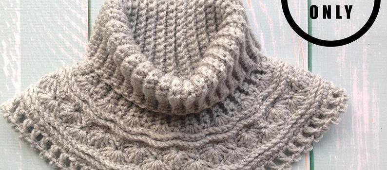 Grey Sea Waves Crochet Neck Warmer by Lesia Little Adventure