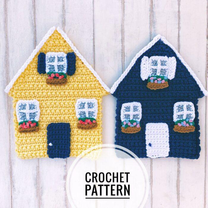 Cottage House Crochet Applique Pattern