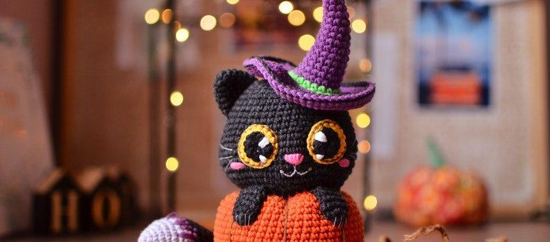 Crochet Witch Cat in Pumpkin by Magicfilament