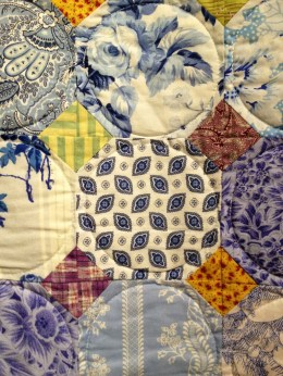 Close-up of the Snowball wedding quilt.