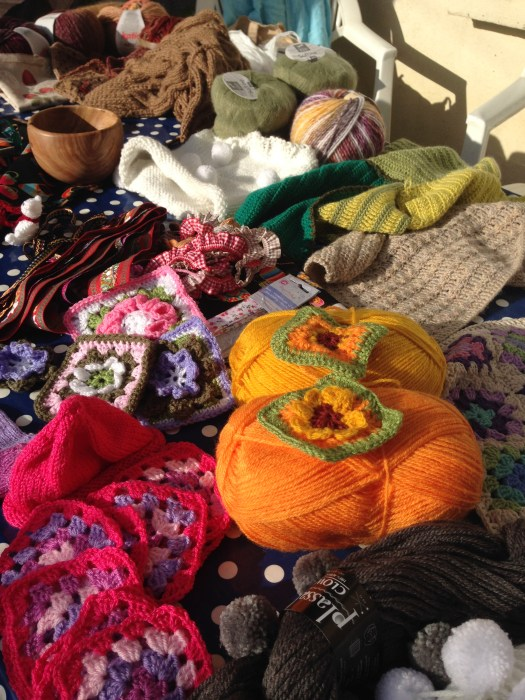 The result of five ladies' five days of shopping, crochet and knitting