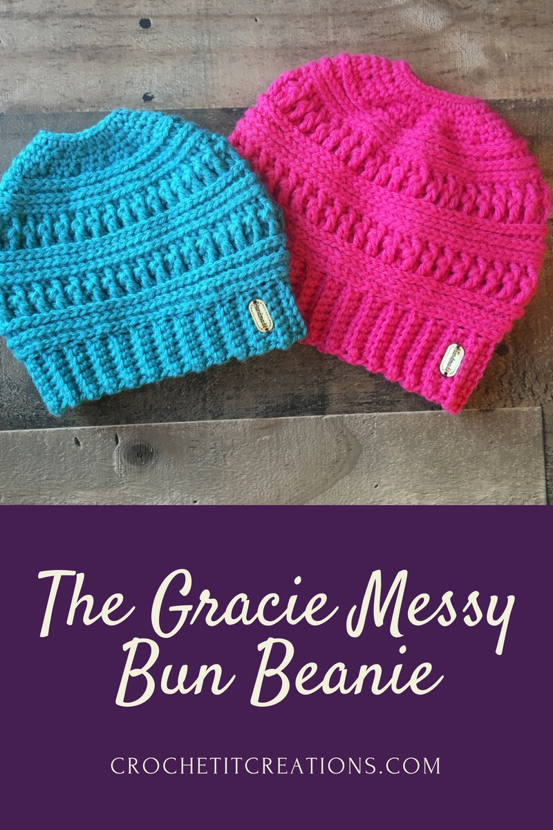 The Gracie Messy Bun Beanie Crochet Pattern