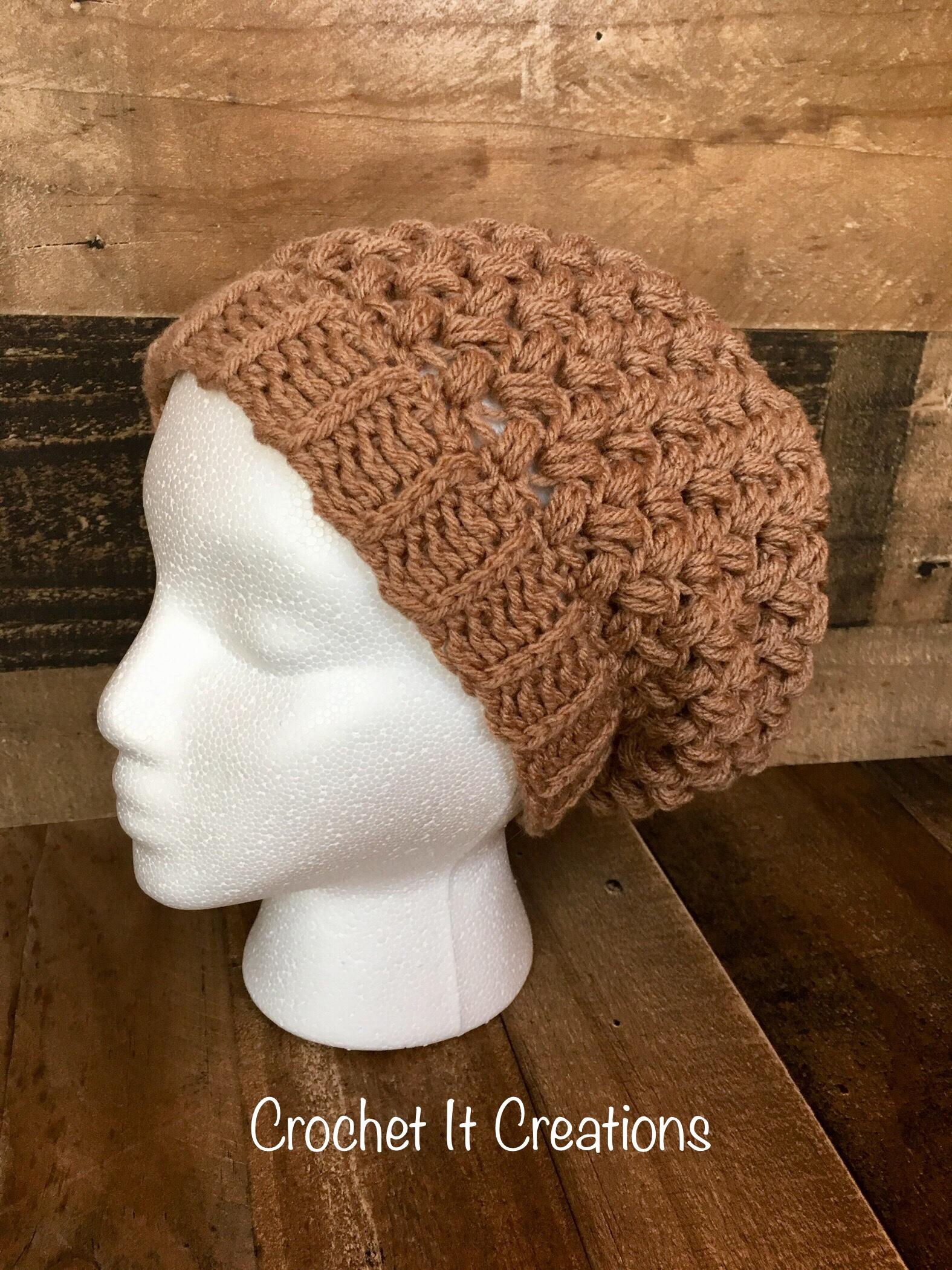 Coffee Bean Slouchy Beanie Crochet Pattern by Crochet It Creations