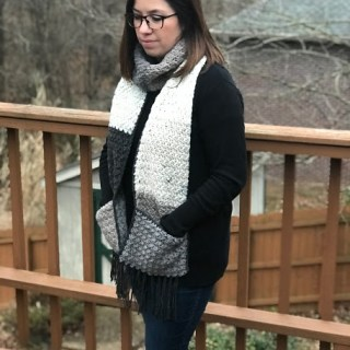 Pocket Scarf Crochet Pattern using 1 Skein of Caron Big Cakes Yarn!