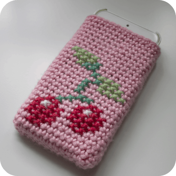 Cherries Phone Cosy Free Crochet Pattern Crochetkim