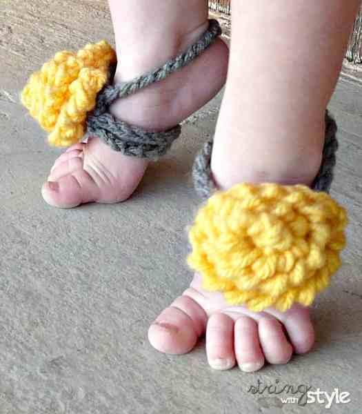 Pretty Barefoot Sandals Free Crochet Pattern