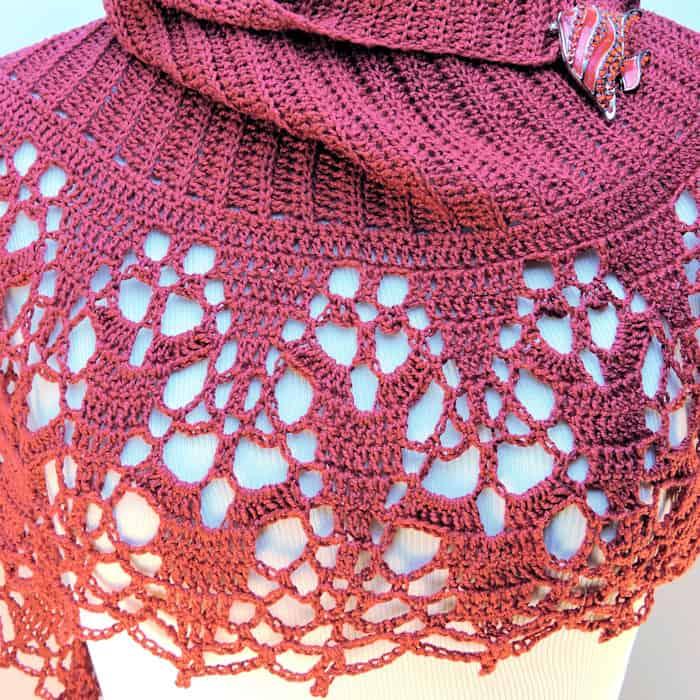 Cinnamon Fling Shawl Wrap CrochetKim Free Crochet Pattern