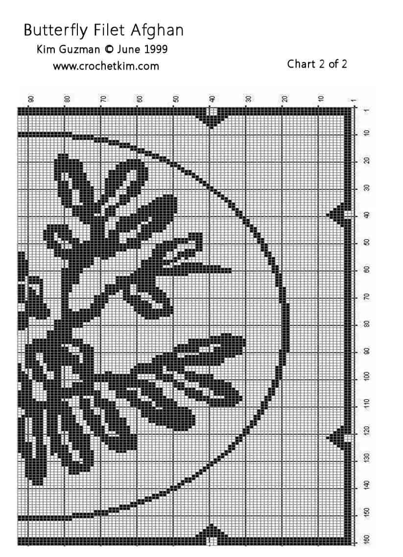 Butterfly Filet Crochet Chart | free crochet pattern @crochetkim