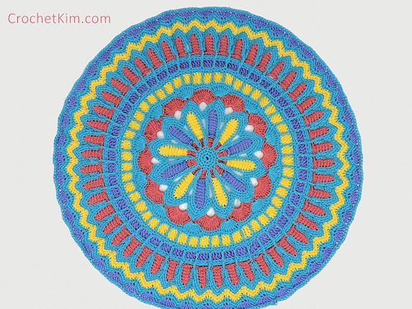 CrochetKim Free Crochet Pattern: Turquoise Mandala Doily