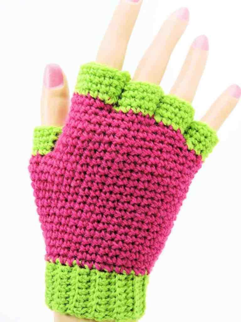 Jersey Mitts Fingerless Gloves CrochetKim Free Crochet Pattern