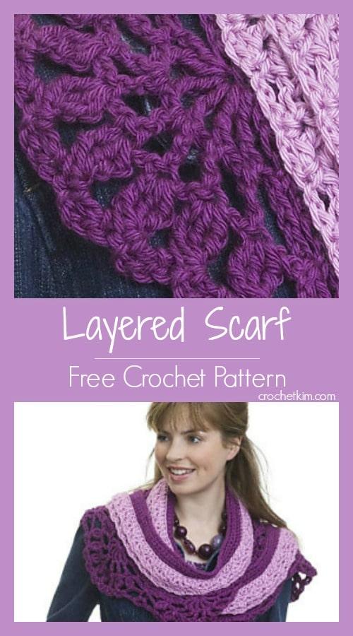 CrochetKim Free Crochet Pattern | Crocheted Layered Scarf @crochetkim